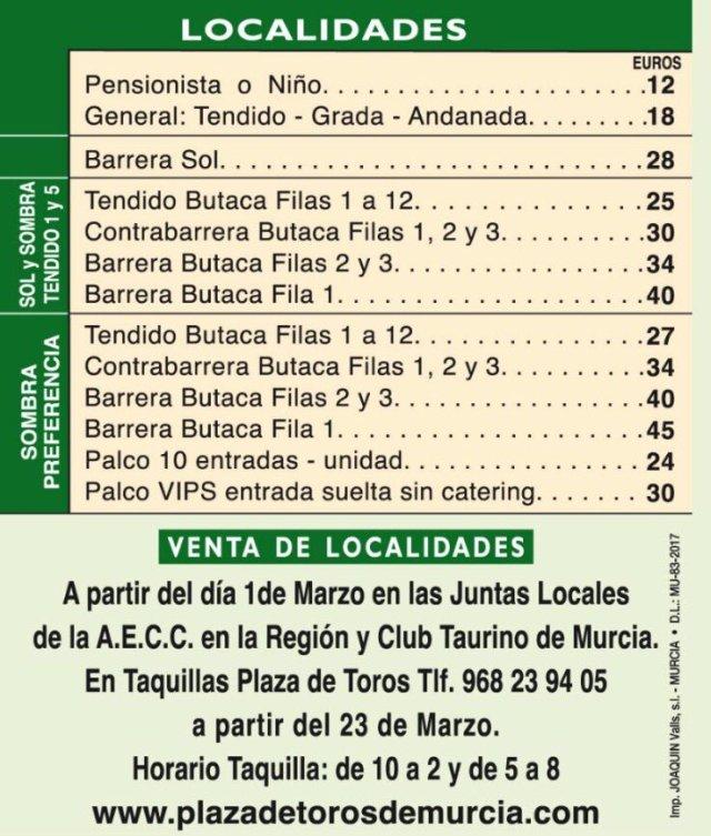 plaza de toros Murcia precios entradas