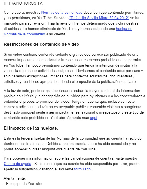 VIVAN LOS TOROS! - Página 10 Youtube-censura